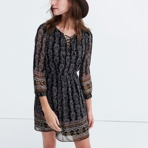 Madewell lace up dress burnished floral dress